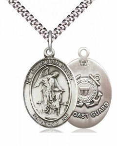 Men's Pewter Oval Guardian Angel Coast Guard Medal [BLPW146]