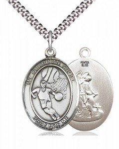 Men's Pewter Oval Guardian Angel Basketball Medal [BLPW404]