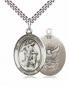 Men's Pewter Oval Guardian Angel Navy Medal [BLPW148]