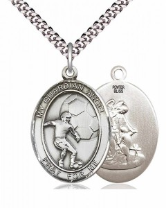 Men's Pewter Oval Guardian Angel Soccer Medal [BLPW405]