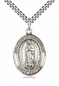 Men's Pewter Oval Our Lady of Guadalupe Medal [BLPW212]