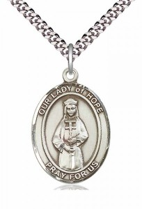 Men's Pewter Oval Our Lady of Hope Medal [BLPW234]