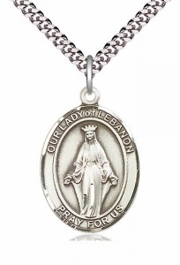 Men's Pewter Oval Our Lady of Lebanon Medal [BLPW233]