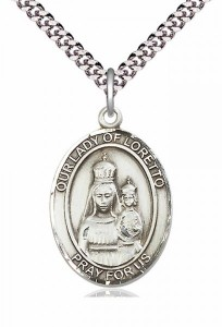 Men's Pewter Oval Our Lady of Loretto Medal [BLPW110]