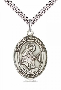 Men's Pewter Oval Our Lady of Mercy Medal [BLPW287]