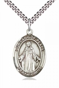 Men's Pewter Oval Our Lady of Peace Medal [BLPW246]