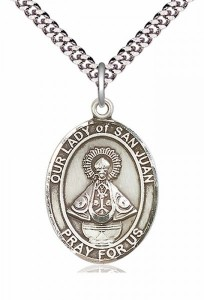 Men's Pewter Oval Our Lady of San Juan Medal [BLPW263]