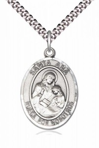 Men's Pewter Oval Saint Agatha Oval Medal [BLPW004]