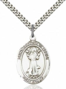 Men's Pewter Oval Saint Francis of Assisi Medal [BLPW047]