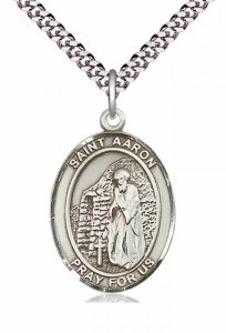 Men's Pewter Oval St. Aaron Medal [BLPW254]