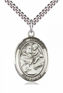 Men's Pewter Oval St. Anthony of Padua Medal [BLPW006]