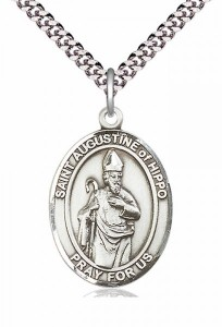 Men's Pewter Oval St. Augustine of Hippo Medal [BLPW209]