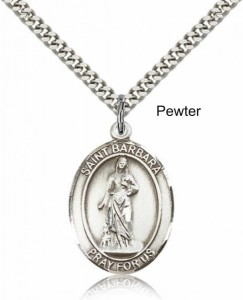 Men's Pewter Oval St. Barbara Medal [BLPW008]