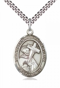 Men's Pewter Oval St. Bernard of Clairvaux Medal [BLPW237]