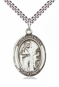 Men's Pewter Oval St. Brendan the Navigator Medal [BLPW020]