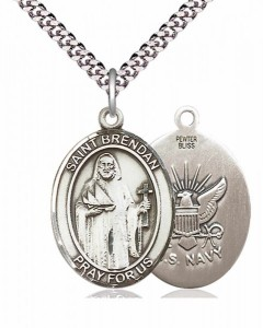 Men's Pewter Oval St. Brendan the Navigator/ Navy Medal [BLPW021]