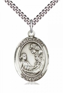 Men's Pewter Oval St. Cecilia Medal [BLPW018]