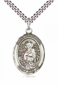 Men's Pewter Oval St. Christina the Astonishing Medal [BLPW317]