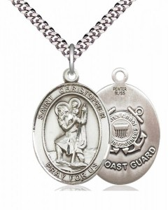 Men's Pewter Oval St. Christopher Coast Guard Medal [BLPW030]
