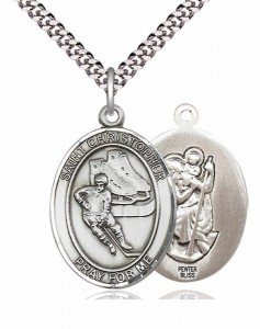 Men's Pewter Oval St. Christopher Ice Hockey Medal [BLPW383]