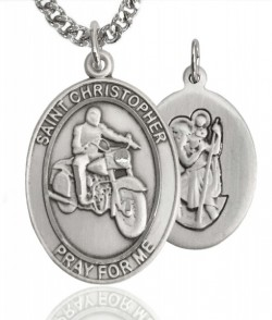 Men's Pewter Oval St. Christopher Motorcycle Medal [BLPW198]