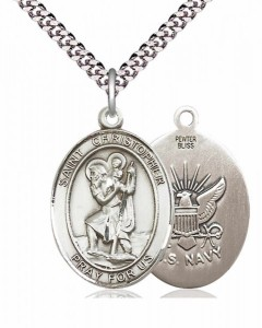 Men's Pewter Oval St. Christopher Navy Medal [BLPW032]