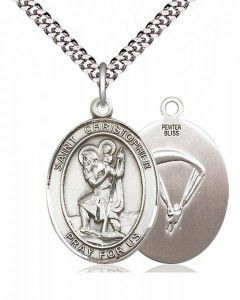 Men's Pewter Oval St. Christopher Paratrooper Medal [BLPW033]