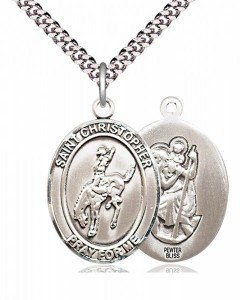 Men's Pewter Oval St. Christopher Rodeo Medal [BLPW203]