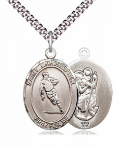 Men's Pewter Oval St. Christopher Rugby Medal [BLPW205]