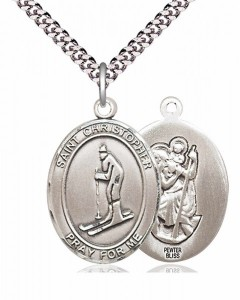 Men's Pewter Oval St. Christopher Skiing Medal [BLPW204]