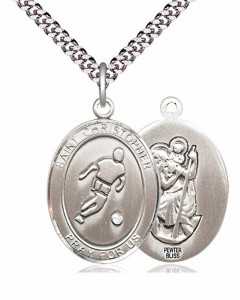 Men's Pewter Oval St. Christopher Soccer Medal [BLPW172]