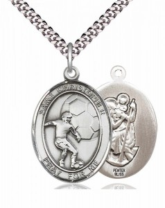 Men's Pewter Oval St. Christopher Soccer Medal [BLPW382]