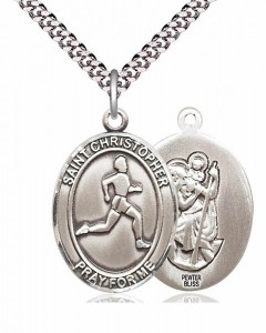 Men's Pewter Oval St. Christopher Track and Field Medal [BLPW169]