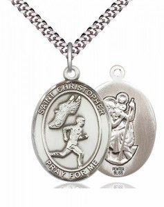 Men's Pewter Oval St. Christopher Track and Field Medal [BLPW388]