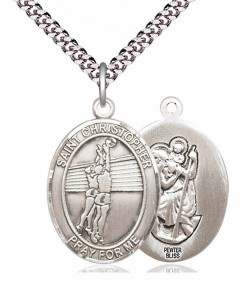 Men's Pewter Oval St. Christopher Volleyball Medal [BLPW166]