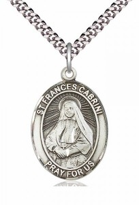 Men's Pewter Oval St. Frances Cabrini Medal [BLPW013]