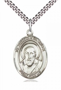 Men's Pewter Oval St. Francis De Sales Medal [BLPW046]
