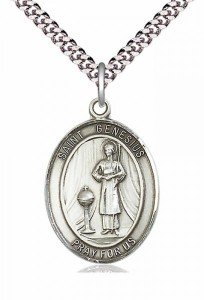 Men's Pewter Oval St. Genesius of Rome Medal [BLPW049]