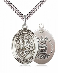 Men's Pewter Oval St. George Air Force Medal [BLPW052]