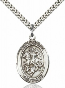 Men's Pewter Oval St. George Army Medal [BLPW053]