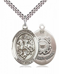 Men's Pewter Oval St. George Coast Guard Medal [BLPW054]