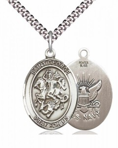 Men's Pewter Oval St. George Navy Medal [BLPW056]