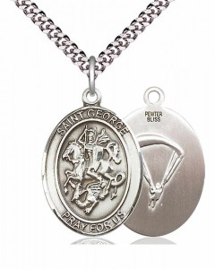 Men's Pewter Oval St. George Paratrooper Medal [BLPW057]