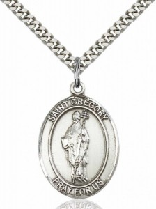 Men's Pewter Oval St. Gregory the Great Medal [BLPW064]