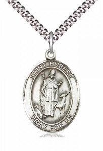 Men's Pewter Oval St. Hubert of Liege Medal [BLPW061]