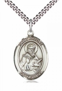 Men's Pewter Oval St. Isidore of Seville Medal [BLPW065]