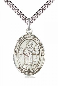 Men's Pewter Oval St. Isidore the Farmer Medal [BLPW275]