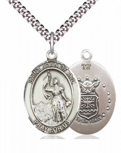 Men's Pewter Oval St. Joan of Arc Air Force Medal [BLPW070]
