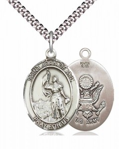 Men's Pewter Oval St. Joan of Arc Army Medal [BLPW071]