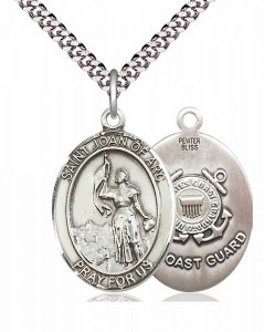 Men's Pewter Oval St. Joan of Arc  Coast Guard Medal [BLPW072]